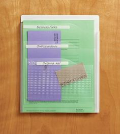 Homeschool, room organization.Post-it Pockets  large and multi-layer, clear w/ dots  Size: 9 3/8inX11 5/8 in