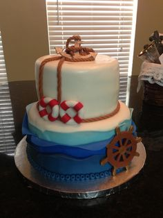 Ships ahoy baby shower cake