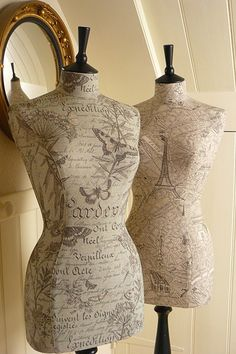 """Vintage Print Paris Map Mannequin by CorsetLacedMannequin on Etsy,want for my toile bedroom...to put """"C's"""" wedding dress on."""