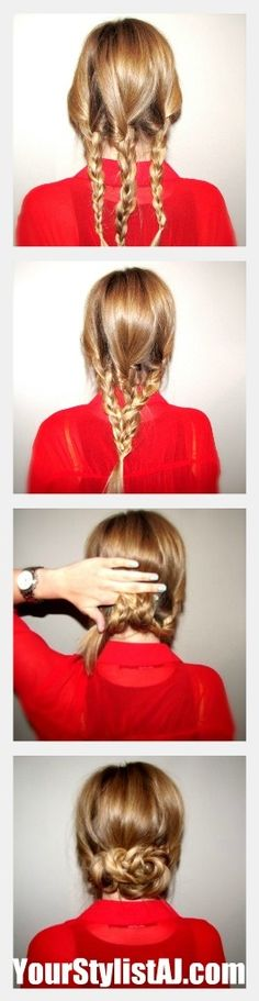 Begin with three regular three strand braids and wrap with clear elastic  Loosely braid all three strands together in a regular three strand braid and wrap with clear elastic  Roll the braid up, hiding the tail, and secure