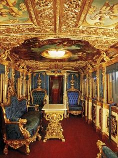 Train car of King Ludwig II of Bavaria. Constructed c. 1860