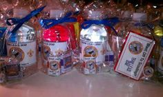 Custom water bottle gift bags with other favors.  Cute idea!