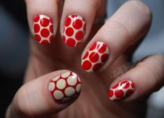 polka dot nails.