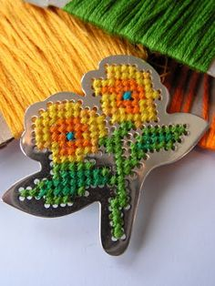 Cross Stitched Silver Flower Brooch