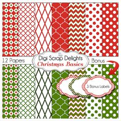 Christmas Basics Digital Papers   Red and by DigiScrapDelights  #Pink #Red #Green #Scrapbook #Christmas #Digital #Printable #DIY