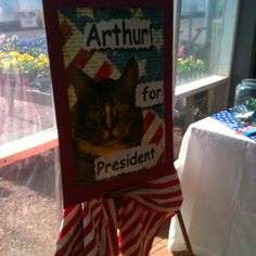 "Arthur, the spokescat for Arthur's Pet Pantry is running for President of the United States to draw attention to the plight of pets from needy families. ""Ask not what your cat can do for you, ask what you can do for your cat"". We hand out food for pets twice a month to local families. Visit us on Facebook."