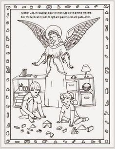 Free Printable Guardian Angel Catholic Coloring Page.  I like how it includes ordinary children engaging in typical play :)  Feast of the Guardian Angels is October 2nd.