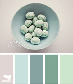 candied spring palette from Design-Seeds: serenity you can SEE, just a lovely paint box of CALM.  The feel of cotton sheet and the windows wide open to catch the currents of daffodil/tulip fragranced air, sun ready to break through the morning mist.