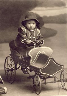 +~+~ Antique Photograph ~+~+  Japanese boy on elaborate pedal car. c. 1920.