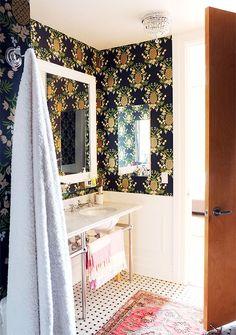 Manhattan Nest | Ana Gasteyer's Bathroom Makeover bathroom makeovers, pineappl wallpap, manhattan nest, bathroom designs
