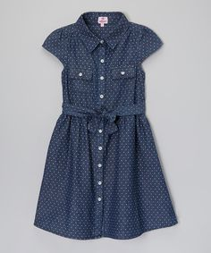 Blue Polka Dot Denim Dress - Toddler & Girls