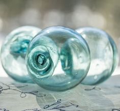 Glass Floats Fishing Net Floats 3 Authentic Nautical by StayaFLOAT, $45.00