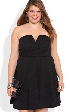 Deb Shops Plus Size Strapless Texture Knit Peplum Dress with Plunge Bodice