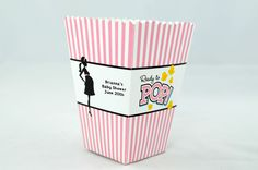 Ready To Pop Pink - Personalized Baby Shower Popcorn Boxes