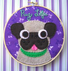 Pug Life  Cute Pug Embroidery Hoop 6 inches by iggystarpup on Etsy, $30.00