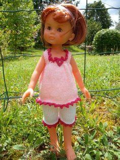"""Ensemble """"Petit coeur"""" pour poupée Corolle Les Chéries - vêtements de poupées - Laine et coton - Fait Maison"""