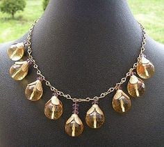 Multi-Faceted Citrine Crystal Drop Necklace, 1920s