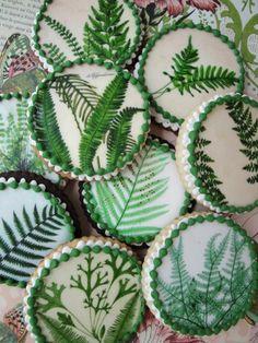 Fern Botanical Cookies by queenoftartscakes on Etsy