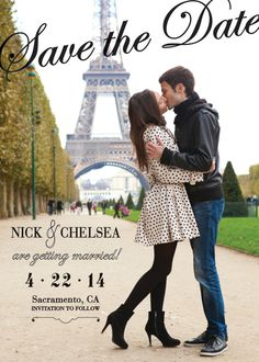 DIY Printable PDF - JPEG Files - Winter Kiss - Paris France - Save the Date Photo Card - Classic Engagement Announcements - Black & White - Click Link to see Included Backer