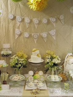Baby shower in greens, yellows and whites