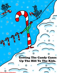 Church House Collection Blog: Free Christmas Candy Cane Coloring Page For Kids And A Free Colored Cartoon Picture