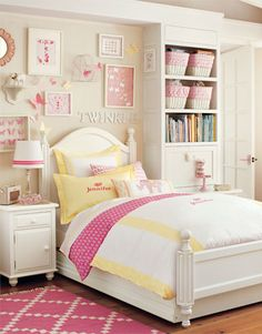 Like this bright pink and happy yellow color combo for girls room.