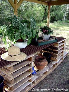 slipper restor, glass slipper, pot bench, potting benches, pallet gardening, pallet pot, pallet wood