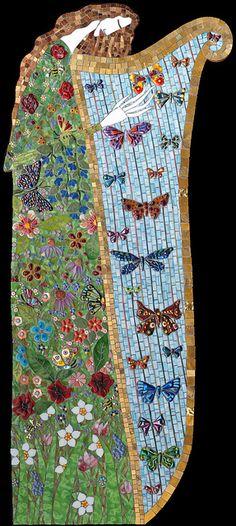 muse, mosaics, irina charni, harp art, charni southafrica, stain glass, mosaic angel, angels, mosaic art