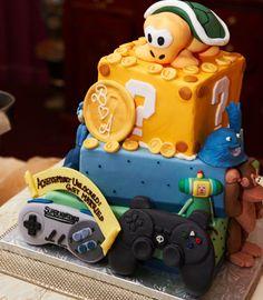 video game themed groom's wedding cake