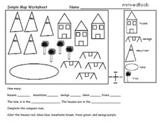 This is a great early map skills worksheet. Students must read the map, complete the compass rose, and identify which cardinal direction two object...