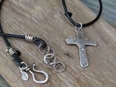 Hand forged rustic artisan CROSS necklace - solid sterling silver on a thick leather cord with hand crafted hook and handmade chain for a man or a woman by JoDeneMoneuseJewelry, $65.00