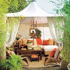 Tent a corner of the garden. A lofty cabana offers a glamorous hideaway just steps from the back door.  Similar to shown: 10-by-10-foot Mandalay Gazebo Canopy, about $220; Ace Canopy.   Photo: Lisa Romerein   thisoldhouse.com
