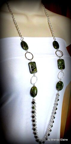 Dragon Blood Jasper and Long Chains Necklace by byBrendaElaine, $46.00