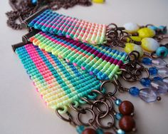 Micro macrame knotted necklace pendant Rainbow 1 by MartaJewelry