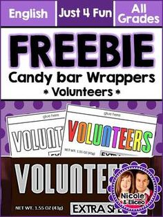 FREEBIE ALERT - Candy bar wrappers for volunteers make great gifts!