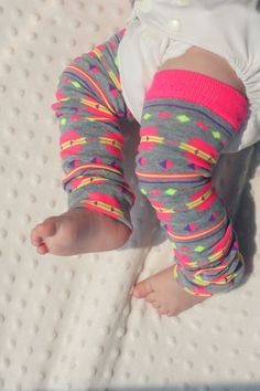 MUST have these!!!!  Baby Leg Warmers  Girl  Hipster Tribal Neon Pink on by keerasama, $8.00