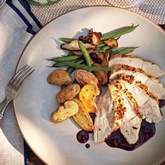 Our Best Low-Fat Chicken Recipes  | Roasted Breast of Chicken with Pinot Noir Sauce | MyRecipes.com