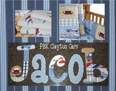 Vintage Clayton Cars Wooden Wall Letters/ pottery barn kids/ pottery barn kids nursery