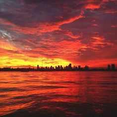 Fiery reds fill the #Miami sky during sunset. Photo by shaneinthemia on Instagram.