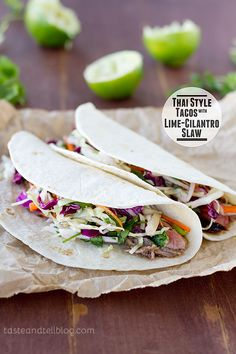 style taco, thai style, tacos, lime cilantro, slaw yummi