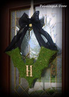 Halloween Wreath Moss Covered Bat