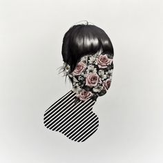 face, graphic, langdon grave, art, collag, homes, design, flower, illustr