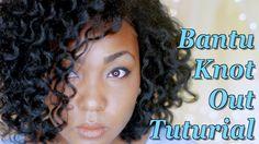 bantu knots on blown out natural hair