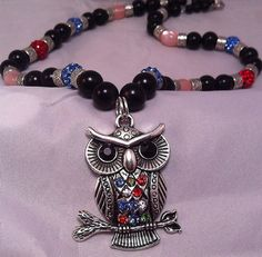 Silver Owl pendant beaded necklace on Etsy, $20.00