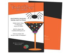 spider halloween party invitation template