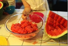 How to Cut a Watermelon by mamasmiles: Dice even a large melon in 5 minutes or less. #Watermelon_Dicing