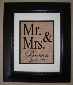 Personalized BURLAP Print Bridal Shower Gift by BellaTara, $18.00
