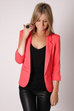 Can I have this blazer pretty please!!!!! fashion, black outfits, style, coral blazer, color, leather pants, leather leggings, leopard prints, black pants