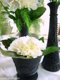 Elegant spray painted black vases for a bridal shower... via Madigan Made.