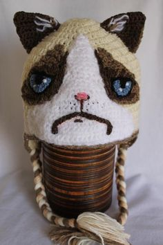 Grumpy cat hat crochet hat, god, grumpi cat, electronic cigarettes, crochet cat hat, gifts, children, place, grumpy cats